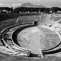 Amphitheater of ancient Pompeii, facing the entrance of the gladiators