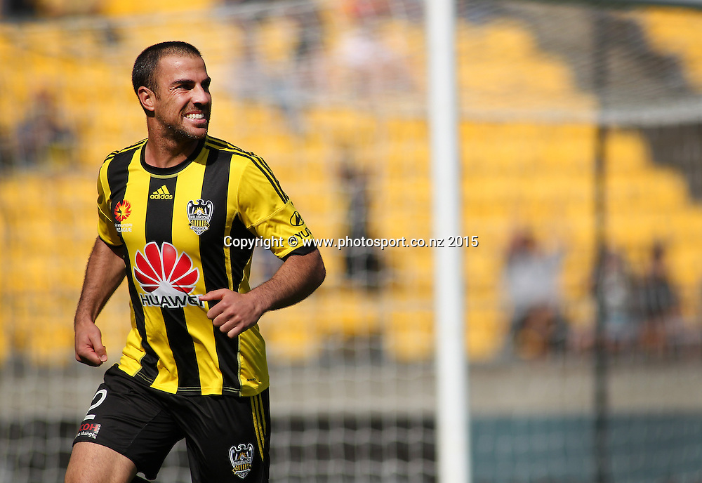 Phoenix' Emmanuel Muscat heads to the corner flag to celebrate his goal during the A-League football match between the Wellington Phoenix & Brisbane Roar at Westpac Stadium, Wellington. 4th January 2015. Photo.: Grant Down / www.photosport.co.nz