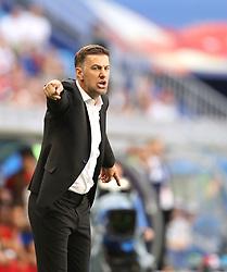 SAMARA, June 17, 2018  Head coach Mladen Krstajic of Serbia reacts during a group E match between Costa Rica and Serbia at the 2018 FIFA World Cup in Samara, Russia, June 17, 2018. (Credit Image: © Fei Maohua/Xinhua via ZUMA Wire)
