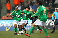 FOOTBALL - FRENCH CHAMPIONSHIP 2009/2010 - L1 - AS SAINT ETIENNE v LILLE OSC - 6/03/2010 - PHOTO ERIC BRETAGNON / DPPI -  GELSON TAVARES (ASSE) / BERGESSIO (ASSE)