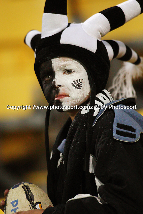 An All Blacks fan.<br /> Investec Tri-Nations - All Blacks v Australia at Westpac Stadium, Wellington. Saturday 19 September 2009. Photo: Dave Lintott/PHOTOSPORT