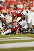 Arkansas Razorback running back Peyton Hillis leaps to the one yard line during a 28 to 24 loss to the Vanderblit Commordores on September 10, 2005 at Donald W. Reynolds Stadium in Fayetteville, Arkansas..Mandatory Credit: Wesley Hitt/Icon SMI
