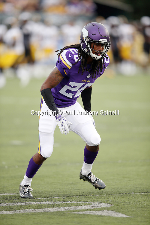 Minnesota Vikings rookie cornerback Trae Waynes (26) makes a move in pass coverage during the 2015 NFL Pro Football Hall of Fame preseason football game against the Pittsburgh Steelers on Sunday, Aug. 9, 2015 in Canton, Ohio. The Vikings won the game 14-3. (©Paul Anthony Spinelli)