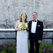 Eric & Erin's wedding is photographed at Moran's Restaurant and on The High Line in New York City on May 19, 2012. ..Photograph by Angela Jimenez.http://www.angelajimenezphotography.com...