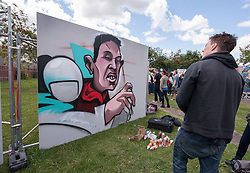 © Licensed to London News Pictures. 25/07/2015. Bristol, UK.  Upfest 2015, Europe's largest, free, street art & graffiti festival, attracting over 250 artists painting 28 venues throughout Bedminster & Southville, Bristol.  Talented artists travel from 25 countries and across the UK to paint live on 30,000sqft of surfaces in front of 25,000 visitors. There is also an affordable art sale, music stages and art workshops.  Photo credit : Simon Chapman/LNP