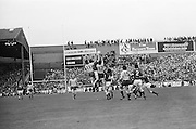 Group of players jump mid to grab the ball during the All Ireland Senior Gaelic Football Championship Final Dublin V Galway at Croke Park on the 22nd September 1974. Dublin 0-14 Galway 1-06.