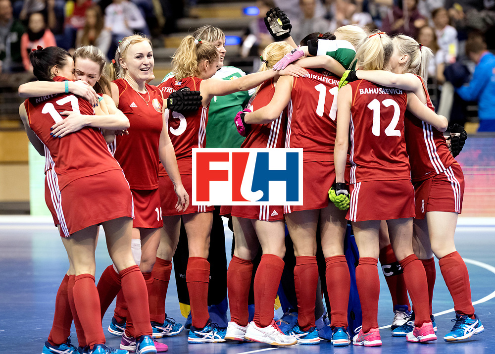 BERLIN - Indoor Hockey World Cup<br /> Bronze: Ukraine - Belarus<br /> Belarus wins 3rd place.<br /> foto:<br /> WORLDSPORTPICS COPYRIGHT FRANK UIJLENBROEK
