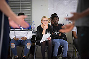 CEO of The Big House and director of Phoenix Rising Maggie Norris during rehearsals in a former Santander building near Great Portland Street.<br /> The full-scale production, which runs from 8th Nov - 2nd of Dec 2017 under Smithfield Meat Market, has been put together by charity The Big House, a charity that helps troubled youths who have been in care.