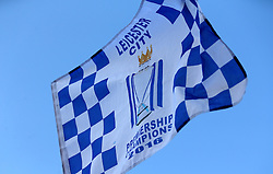 A Leicester City flag is waved in the air - Mandatory by-line: Robbie Stephenson/JMP - 16/05/2016 - FOOTBALL - Leicester City FC, Barclays Premier League Winners 2016 - Leicester City Victory Parade
