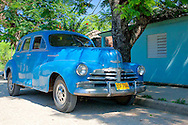 Old blue car in Bocas, Holguin, Cuba.