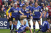Sport - Rugby 28/04/2002 Parker Pen Shield - Semi-Final.Gloucester vs Sale - Franklin Gardens - Northampton.Bryan Redpath clears the ball..[Mandatory Credit, Peter Spurier/ Intersport Images].