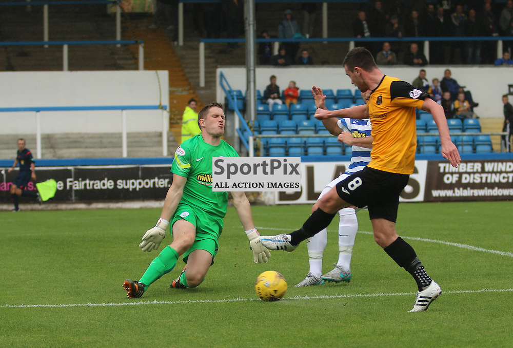 Derek Gaston Make a good save from Gallagher during the Morton FC v Dumbarton FC  FC Scottish Championship 12th September 2015 <br /> <br /> (c) Andy Scott | SportPix.org.uk