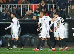 January 26, 2019 - Valencia, Valencia, Spain - Valencia CF players celebrates a goal during the La Liga Santander match between Valencia and Villarreal at Mestalla Stadium on Jenuary 26, 2019 in Valencia, Spain. (Credit Image: © AFP7 via ZUMA Wire)