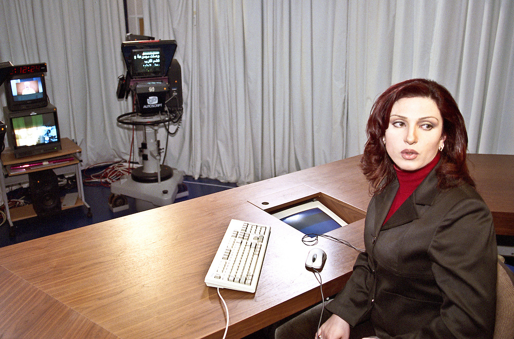 Al Jazeera presenter Jelnar Moussa in the studio in Doha, Qatar