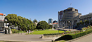 Panoramic view of The Beehive, the seat of national government in Wellington, New Zealand.