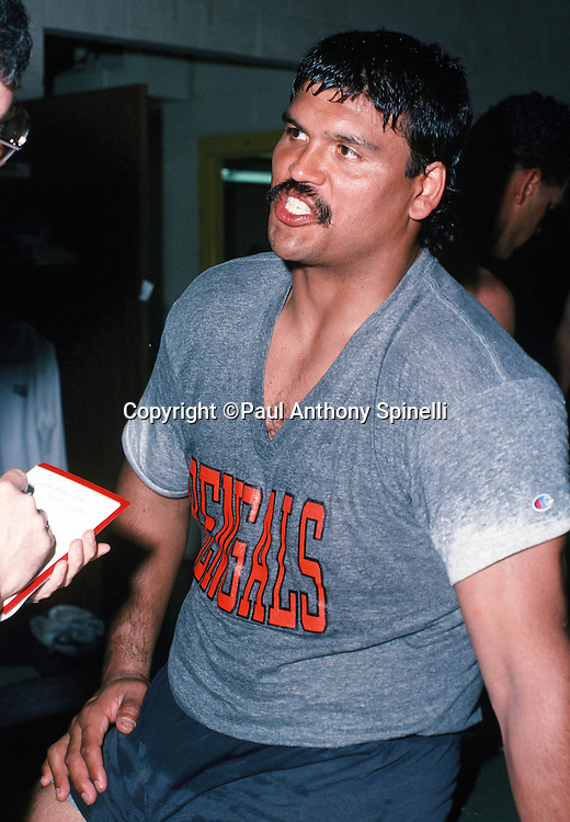 The American Football Conference Cincinnati Bengals guard Anthony Munoz does a media interview after practice during the week of the 1989 NFL Pro Bowl football game against the National Football Conference on Jan. 24, 1989 in Honolulu. The NFC won the game 34-3. (©Paul Anthony Spinelli)