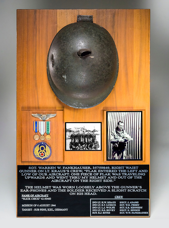 Sgt. Warren Wesley Fankhauser's helmet.  He was only slightly injured while wearing this helmet during a bombing mission over Germany in WWII.