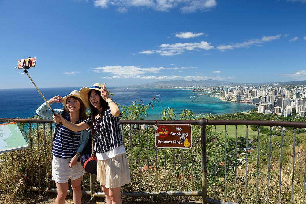 USA, Hawaii, Oahu, Honolulu,Diamond head state Monument, Japanese tourists on Diamond Head