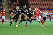 York City midfielder James Barrett on the attack during the Johnstone's Paint Trophy match between Barnsley and York City at Oakwell, Barnsley, England on 10 November 2015. Photo by Simon Davies.