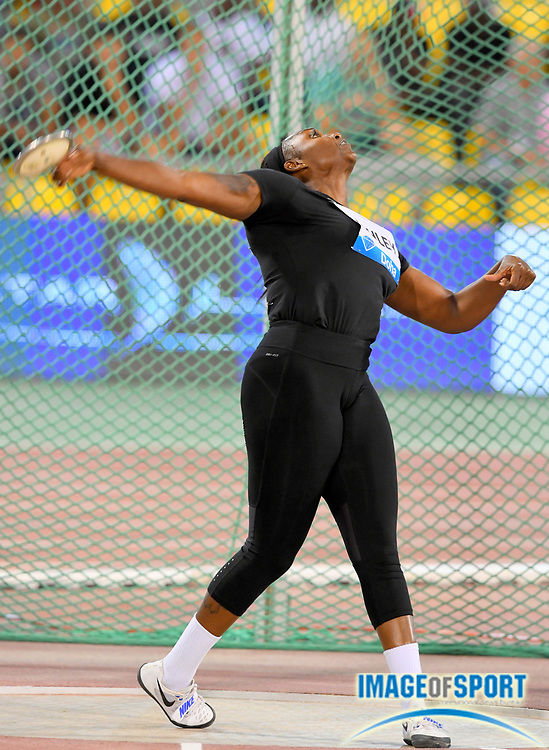 Ashley Whitney (USA) places seventh in the women's discus at 191-8 (58.42m) in the 2018 IAAF Doha Diamond League meeting at Suhaim Bin Hamad Stadium in Doha, Qatar, Friday, May 4, 2018. (Jiro Mochizuki/Image of Sport)