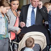 NLD/Amsterdam/20120604 - Vertrek Nederlands Elftal voor EK 2012, Klaas Jan Huntelaar neemt afscheid van zijn partner Maddy Schoolderman en zoontje Axel, op de voorgrond zoon Seb
