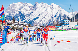 28.02.2019, Seefeld, AUT, FIS Weltmeisterschaften Ski Nordisch, Seefeld 2019, Langlauf, Damen, Staffel 4x5 km, im Bild v.l. Ebba Andersson (SWE), Yulia Belorukova (RUS) // f.l. Ebba Andersson of Sweden and Yulia Belorukova of Russian Federation during the ladie's Relay 4x5 km competition of the FIS Nordic Ski World Championships 2019. Seefeld, Austria on 2019/02/28. EXPA Pictures © 2019, PhotoCredit: EXPA/ Stefan Adelsberger
