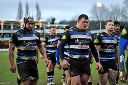 Bath Rugby players leave the field at half-time - Mandatory byline: Patrick Khachfe/JMP - 07966 386802 - 20/02/2016 - RUGBY UNION - The Recreation Ground - Bath, England - Bath Rugby v Wasps - Aviva Premiership.