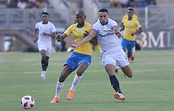 02/09/2018. Matthew Rusike of Cape Town City FC fights for the ball with Mosa Lebusa Mamelodi Sundowns players during their MTN8 match at Lucas Moripe Stadium in Atteridgeville.<br /> Picture: Oupa Mokoena/African News Agency (ANA)