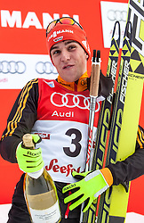 18.01.2014, Casino Arena, Seefeld, AUT, FIS Weltcup Nordische Kombination, Seefeld Triple, Podium, im Bild zweiter Johannes Rydzek (GER) // second  Johannes Rydzek (GER) during Winner Award Ceremony at FIS Nordic Combined World Cup Triple at the Casino Arena in Seefeld, Austria on 2014/01/18. EXPA Pictures © 2014, PhotoCredit: EXPA/ JFK