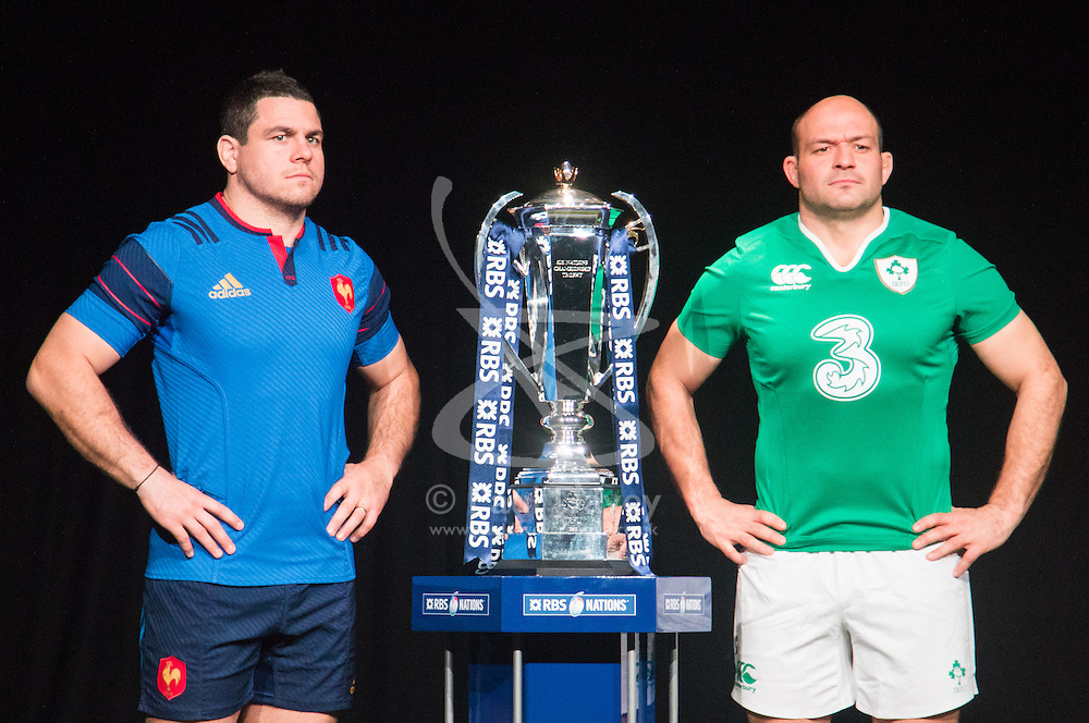 Hurlingham Club, London, January 27th 2016. France Captain Guilhem Guirado and Ireland Captain Rory Best at the launch of the RBS Six Nations Rugby Tornament. ///FOR LICENCING CONTACT: paul@pauldaveycreative.co.uk TEL:+44 (0) 7966 016 296 or +44 (0) 20 8969 6875. ©2015 Paul R Davey. All rights reserved.