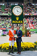 Jeroen Dubbeldam and Zenith SFN World Champion Individual Jumping and Mr Philippe Schaeffer CEO Rolex France<br /> Alltech FEI World Equestrian Games™ 2014 - Normandy, France.<br /> © DigiShots