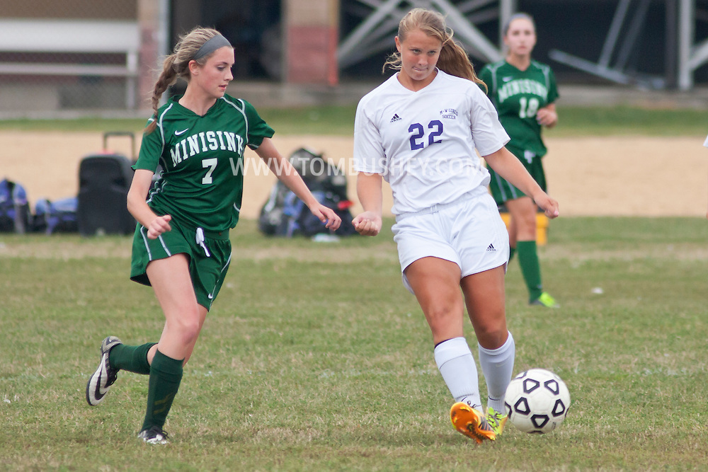 Central Valley, New York - Minisink Valley plays Monroe-Woodbury in a varsity girls' soccer game on Sept. 9, 2014.