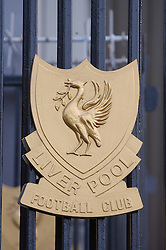 LIVERPOOL, ENGLAND - Saturday, January 26, 2008: Liverpool club crest painted in gold on one of the gates outisde Anfield. (Photo by David Rawcliffe/Propaganda)