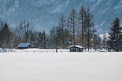 THEMENBILD - Heustadl, Nadelbäume und eine unberührte Schneefläche, aufgenommen am 06. Februar 2020 in Zell am See, Oesterreich // Haystadl, coniferous trees and an untouched snow surface, in Zell am See, Austria on 2020/02/06. EXPA Pictures © 2020, PhotoCredit: EXPA/Stefanie Oberhauser