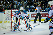 KELOWNA, CANADA - APRIL 30:  Michael Herringer #30 of the Kelowna Rockets, Gordie Ballhorn #4 of the Kelowna Rockets at the Kelowna Rockets game on April 30, 2017 at Prospera Place in Kelowna, British Columbia, Canada.  (Photo By Cindy Rogers/Nyasa Photography,  *** Local Caption ***