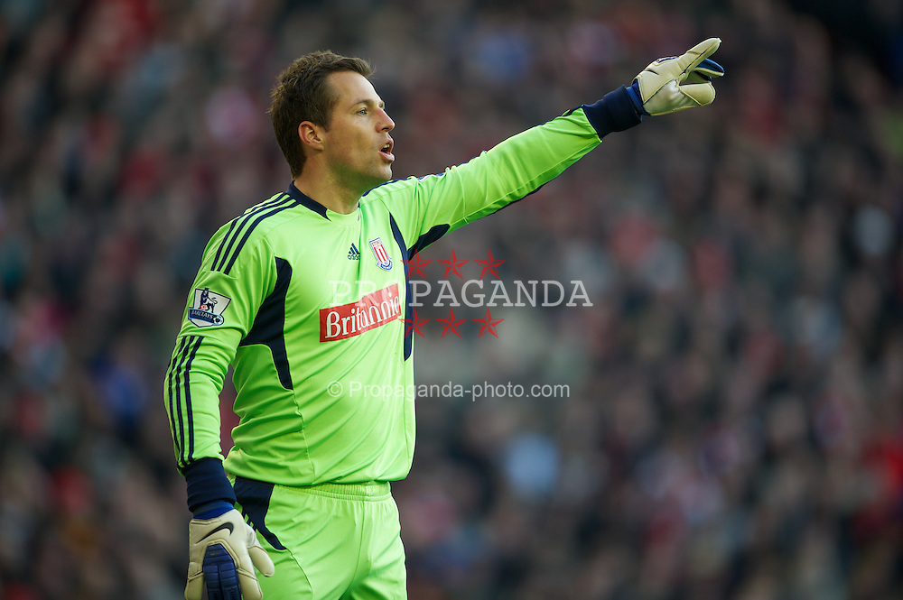 LIVERPOOL, ENGLAND - Saturday, January 14, 2012: Stoke City's goalkeeper Thomas Sorensen in action against Liverpool during the Premiership match at Anfield. (Pic by David Rawcliffe/Propaganda)