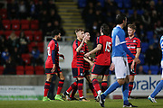 06/10/2017 - St Johnstone v Dundee - Dave Mackay testimonial at McDiarmid Park, Perth, Picture by David Young - Dundee's Jack Lambert is congratulated after scoring number two