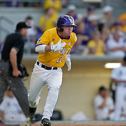 05 June 2009:  Tyler Hanover (11) of LSU runs to first base on a double during game one of the NCAA baseball College World Series, Super Regional game between the Rice Owls and the LSU Tigers at Alex Box Stadium in Baton Rouge, Louisiana.