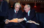 Roma 2003.XIV Congresso nazionale di Magistratura democratica .Virginio  Rognoni vice Presidende del Consiglio Superiore della Magistratura, Luigi Berlinguer membro laico del Consiglio superiore della magistratura.
