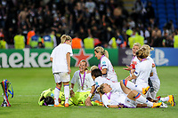 Players of Olympique Lyon celebrate with the Champions League trophy during the UEFA Women's Champions League Final between Lyon Women and Paris Saint Germain Women at the Cardiff City Stadium, Cardiff, Wales on 1 June 2017. Photo by Giuseppe Maffia.<br /> <br /> Giuseppe Maffia/UK Sports Pics Ltd/Alterphotos