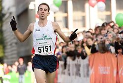 Winner at 21km Mitja Kosovelj of Slovenia at the finish line of the 14th Marathon of Ljubljana, on October 25, 2009, in Ljubljana, Slovenia.  (Photo by Vid Ponikvar / Sportida)