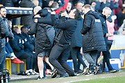 Goal celebration by Bradford City Manager Gary Bowyer during the EFL Sky Bet League 1 match between Bradford City and Peterborough United at the Northern Commercials Stadium, Bradford, England on 9 March 2019.