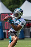 Carolina Panthers Running back Reggie Bonnafon (39) catches a pass during training camp at Wofford College, Sunday, August 11, 2019, in Spartanburg, S.C. (Brian Villanueva/Image of Sport)