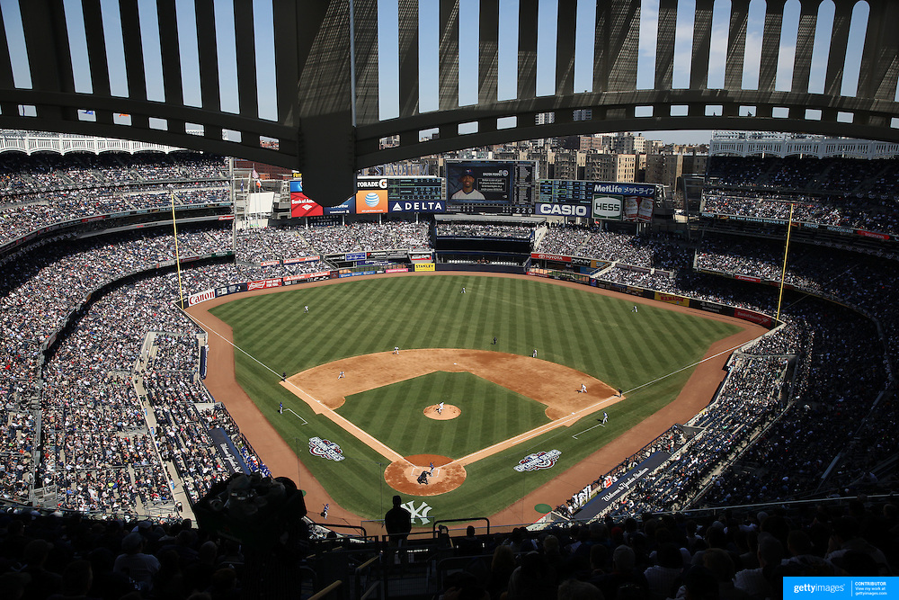 A packed Yankee Stadium during the New York Yankees Vs Toronto Blue Jays season opening day at Yankee Stadium, The Bronx, New York. 6th April 2015. Photo Tim Clayton