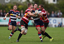 Rhodri Williams of Bristol Rugby is tackled by Dan Lee of Cornish Pirates- Mandatory by-line: Gary Day/JMP - 10/09/2017 - RUGBY - Mennaye Field - Penzance, England - Cornish Pirates v Bristol Rugby - Greene King IPA Championship