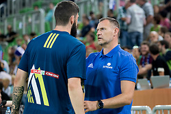 Ziga Dimec and Radovan Trifunovic, head coach of Slovenia during basketball match between Slovenia and Montenegro in Round #6 of FIBA Basketball World Cup 2019 European Qualifiers, on July 1, 2018 in Arena Stozice, Ljubljana, Slovenia. Photo by Urban Urbanc / Sportida
