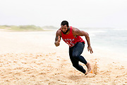 Seattle Seahawks 2X Pro Bowler Michael Bennett beach workout.<br /> <br /> Photo by: Alika Jenner