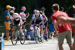 Anna van der Breggen (NED) and Elisa Longo Borghini (ITA) battle it out during La Course by Le Tour de France, a 121 km road race starting and finishing in Pau, France on July 19, 2019. Photo by Sean Robinson/velofocus.com