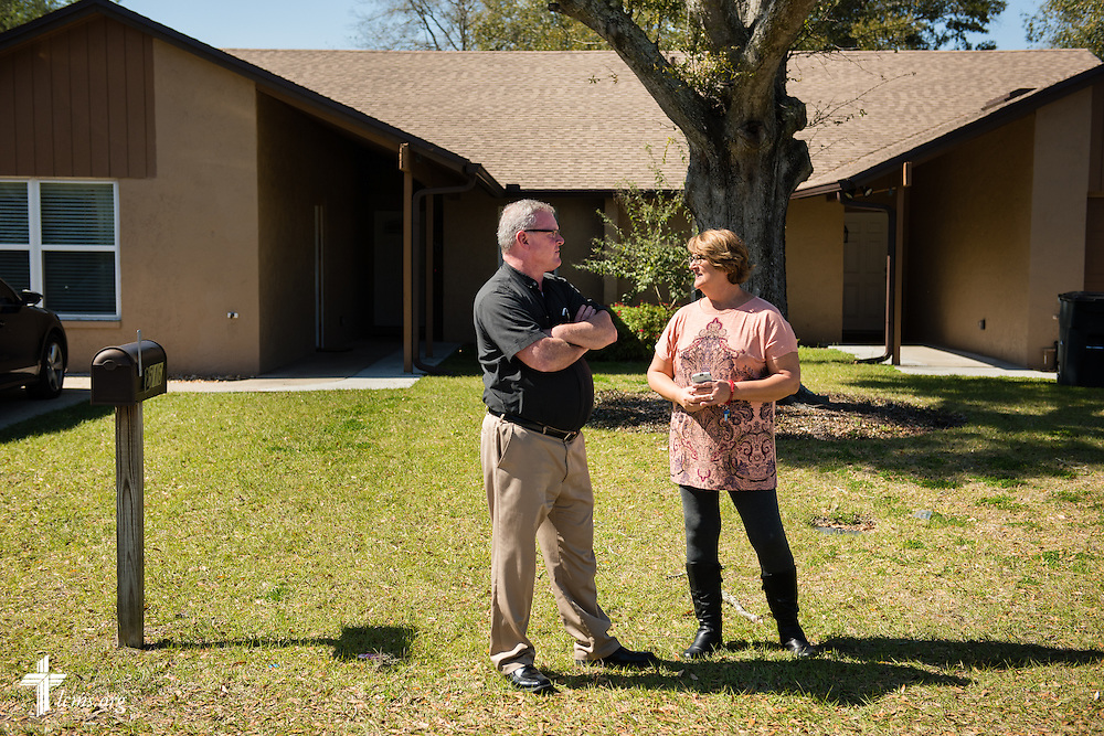 The Rev. Edward DeWitt and Sheryl DeWitt chat in front of Redeeming Life Maternity Home on Thursday, Feb. 12, 2015, in Sanford, Fla. The Christ-centered home of Redeeming Life Outreach Ministries is a safe haven for single women in crisis pregnancy. LCMS Communications/Erik M. Lunsford