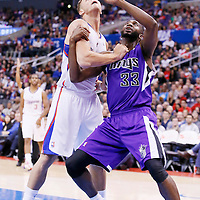 23 November 2013: Los Angeles Clippers power forward Blake Griffin (32) vies for the rebound Sacramento Kings power forward Luc Richard Mbah a Moute (33) during the Los Angeles Clippers 103-102 victory over the Sacramento Kings at the Staples Center, Los Angeles, California, USA.
